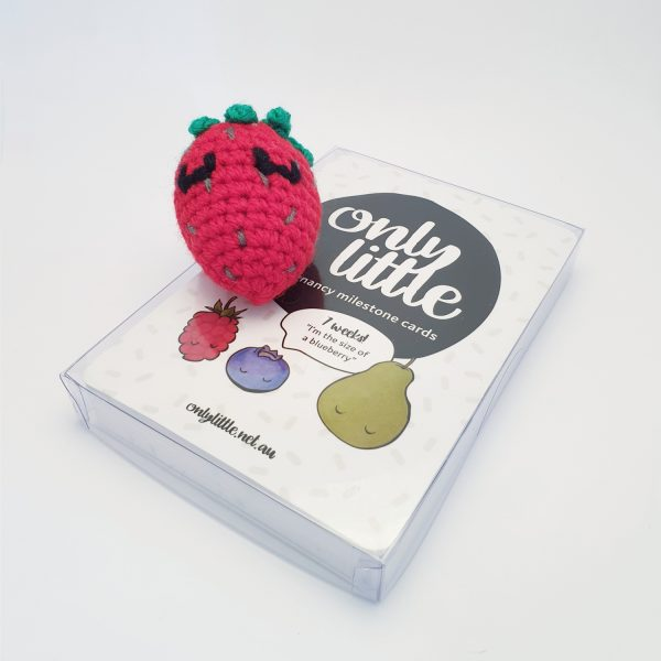 Pregnancy Milestone Cards With Crochet Strawberry - Only Little